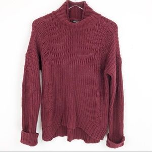 Express Sweater Burgundy Cable Knit Pullover